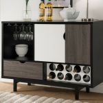 Contemporary Wine Cabinet Liquor Bar Storage Cubby Buffet Black White Modern