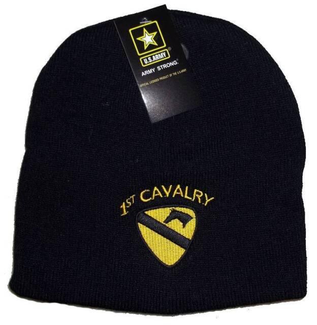 4677ffccf78c4d 8 Black Usa 1st Cavalry Embroidered Winter Beanie Skull Cap