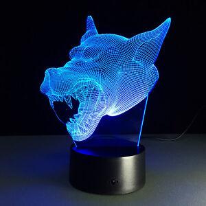 3D Anime Final Fantasy Wolf Night Light Acrylic LED Table
