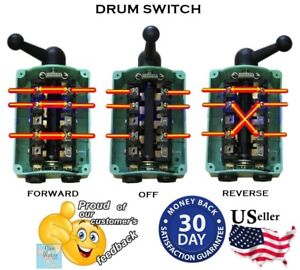 Drum Switch ForwardOffReverse Motor Control RainProof