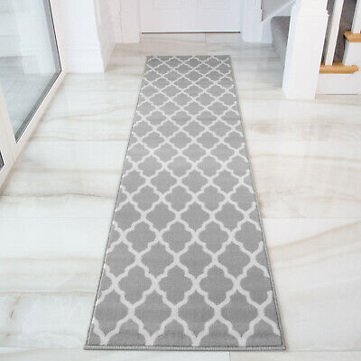Grey Silver Trellis Runner Rug For Hall Long Narrow Geometric Hallway Runners Uk Ebay