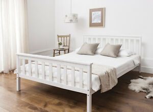 Image Is Loading Double Bed In White 4 039 6 Wooden