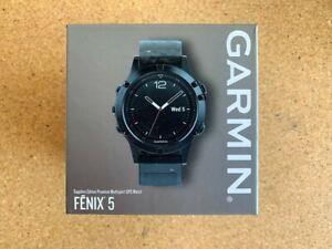 NEW Garmin Fenix 5 Sapphire GPS 47mm - Black w/ Black Band