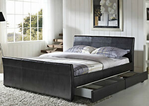 Image Is Loading 4 Drawers Faux Leather Storage Sleigh Bed Double
