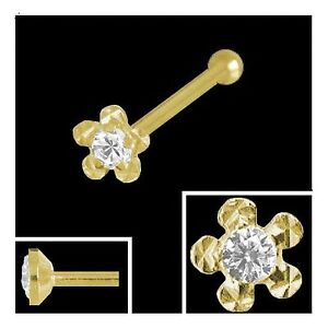Gold 750 Nasenpiercing, Blume 2,7 mm m.gefassten Diamant Nasenstecker Kugelstift