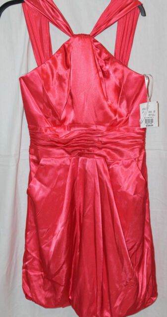 David s Bridal Y neck Charm Formal Dress Color Guava Size 6 Bubble     David s Bridal Y Neck Charm Formal Dress Color Guava Size 6 Bubble Hem nwt