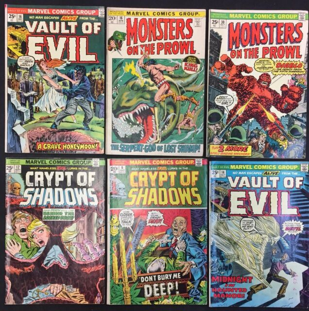 Mixed horror Comic Books (Lot of 6) Vintage 1972-1974