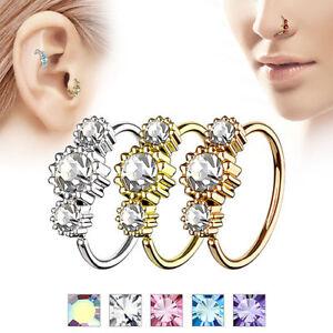 Nasenpiercing Universal Tragus Helix Ohr Piercing Tribal Ring mit 3 Kristallen