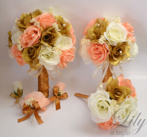17 Piece Package Wedding Bridal Bouquet Silk Flowers GOLD PEACH     Image is loading 17 Piece Package Wedding Bridal Bouquet Silk Flowers