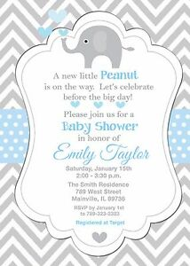 Details About Elephant Baby Shower Invitation Boy
