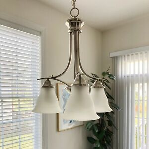 details about progress lighting trinity 3 light chandelier brushed nickel with etched glass