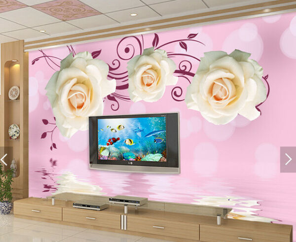 3D White Rose 546 Wallpaper Murals Wall Print Wallpaper Mural AJ