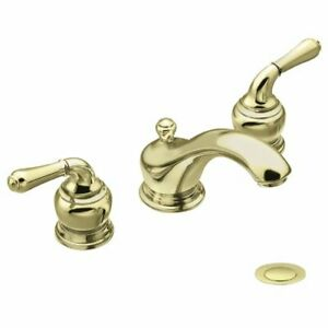 details about new moen monticello 8 widespread faucet 4570p polished brass with valve 84250