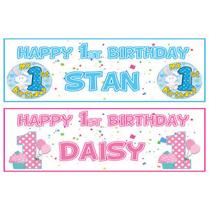 Boy Or Girl Any Name First 2 Personalised 1st Birthday Banner 36 X 11 Banner Home Garden