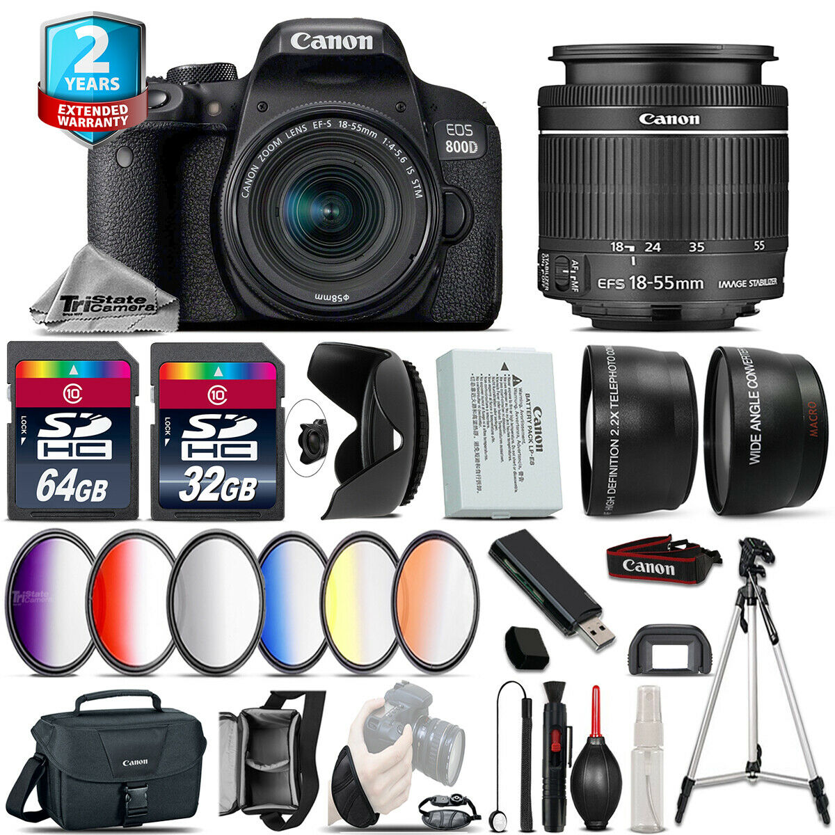 Canon Rebel 800D T7i Camera + 50mm STM -3 Lens Kit +32GB +EXT BATT +2yr Warranty