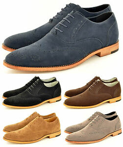 New Mens Faux Suede Casual Formal Lace Up Brogue Fashion Shoes In UK     Image is loading New Mens Faux Suede Casual Formal Lace Up
