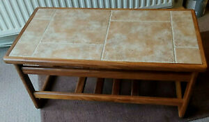 details about retro teak anbercraft coffee table rustic tile top 33 inch