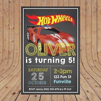 personalised hot wheels birthday party kids invitations digital you print ebay
