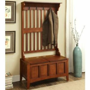 details about wide hall tree wood hallway shoe storage bench pine wooden coat rack hat stand