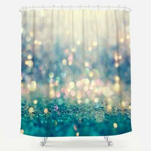 details about new ocean sea mermaid turquoise blue pink shimmer fabric bathroom shower curtain