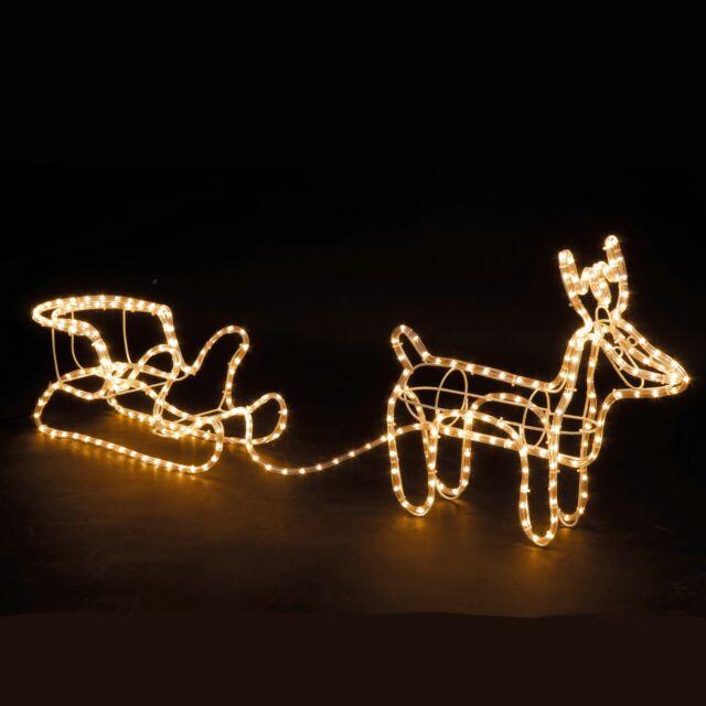 Large Christmas Reindeer Sleigh Light Up Outdoor Garden Led Rope Decoration