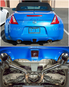 details about for 09 up nissan 370z z34 muffler delete axle back 4 5 inch dual tips exhaust