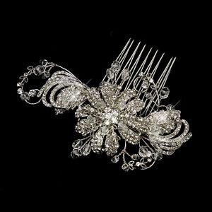 antique silver swarovski crystal rhinestone flower bridal wedding hair b ebay