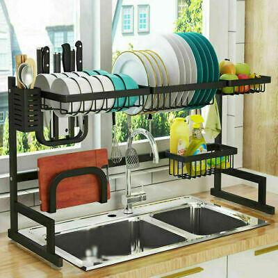 over sink dish drying rack 2 tier stainless steel cutlery drainer kitchen shelf ebay