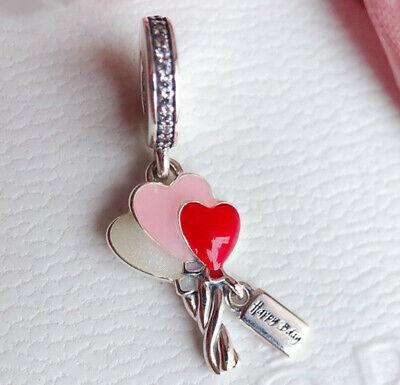 Authentic Pandora Silver Charm Bead 798076cz Happy Birthday Balloons Heart New Ebay