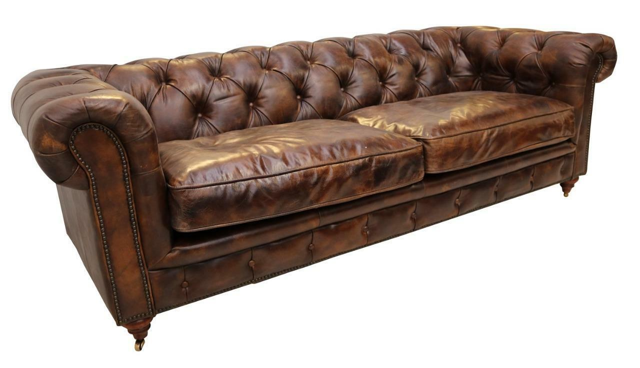 Details About Chesterfield Luxury Vintage Distressed Real Leather 3 Seater Sofa Tobacco Brown