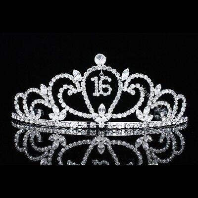Sweet 16 Birthday Party Princess Rhinestones Crystal Crown Tiara 7483 608641040524 Ebay