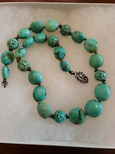 Antique Chinese Natural Carved Turquoise Shou Bead Necklace 54g Sterling Clasp
