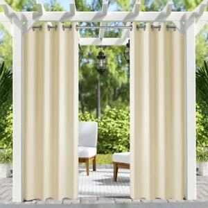 details sur 2 pack 50x120in patio exterieur interieur rideaux pour porche balcon pergola beige afficher le titre d origine