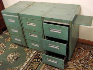 details sur ancien casier tole 3 tiroirs 1 tablette meuble metier industriel rangement