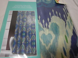 Traditions By Waverly Shower Curtain ENLIGHTENED Navy Teal Aqua Green NIP EBay