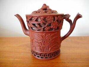Vintage Chinese Yixing Zisha teapot reticulated body