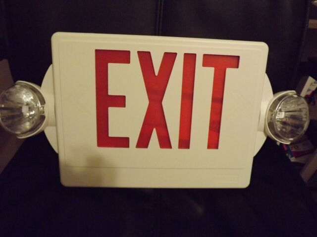 lithonia lighting 186hu9 19 wide led exit sign white red letters