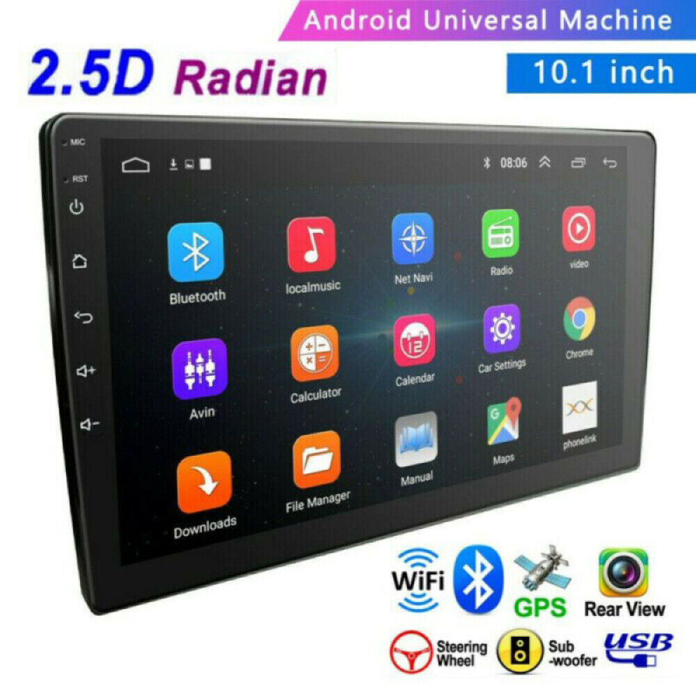 """10.1"""" 2 Din Android 8.1 Tempered Glass 2.5D GPS Navi Bluetooth Car Stereo Radio"""