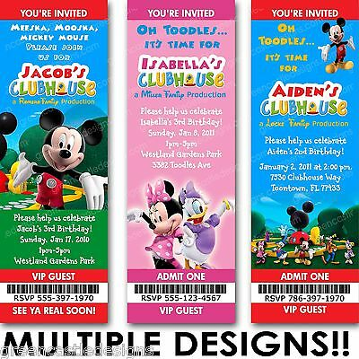 mickey minnie mouse clubhouse birthday party invitation ebay