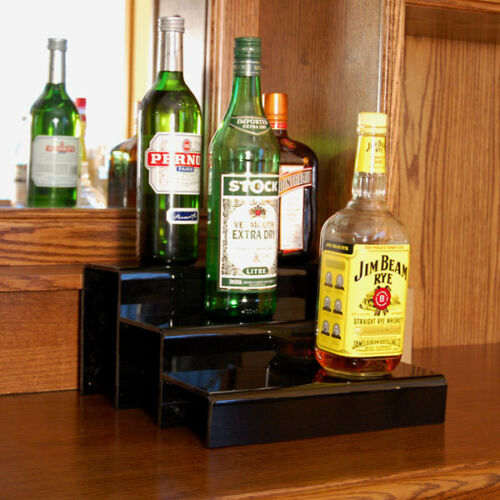 bar tools accessories liquor bottle shelf 12 inch 3 tier black bar pub alcohol drink display decor wine racks bottle holders
