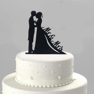 wedding cake topper  raquo  Acrylic Silhouette Bride   Groom Mr   Mrs Figurine Wedding Cake     Image is loading Acrylic Silhouette Bride amp Groom Mr amp Mrs