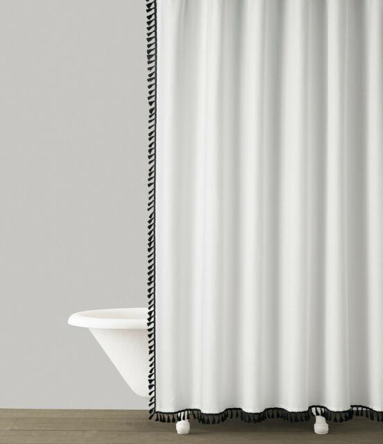 studio d tevin white cotton shower curtain black tassel border 72x72
