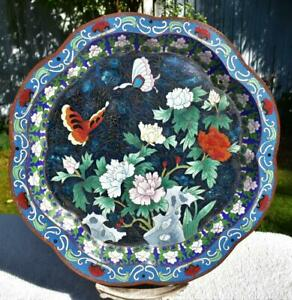"""Fine Large 15"""" Antique 19thC Chinese Cloisonne Charger Dish Butterflies Flowers"""