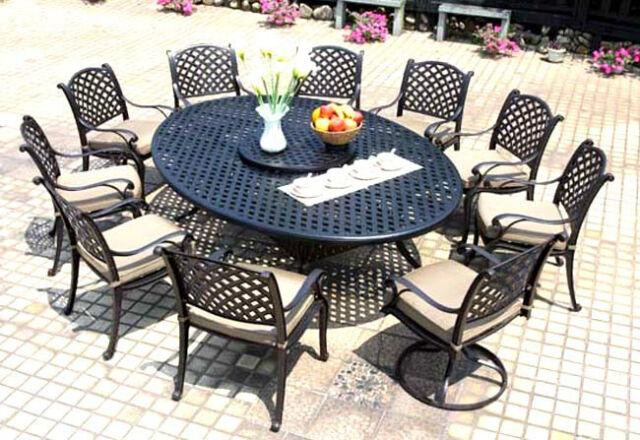 patio dining set cast aluminum outdoor furniture 12pc nassau bronze all weather