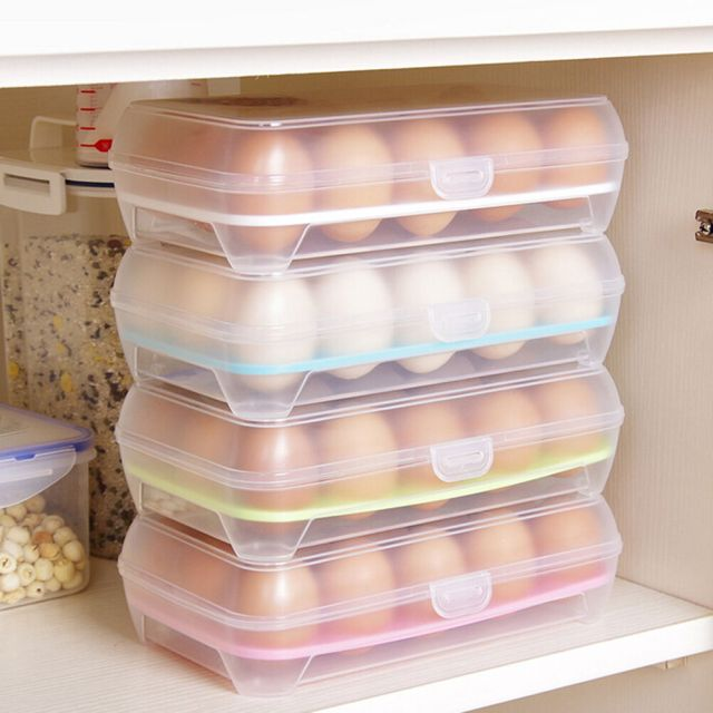 15 Eggs Holder Food Storage Container Plastic Refrigerator Egg Storage Box VUEC 2