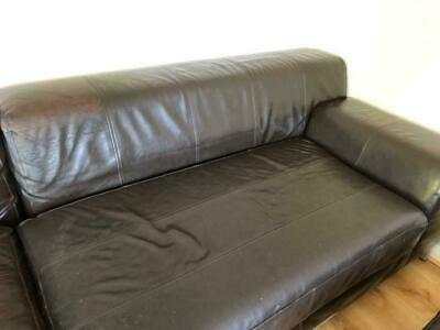 ikea brown leather kramfors sofa with chaise ebay