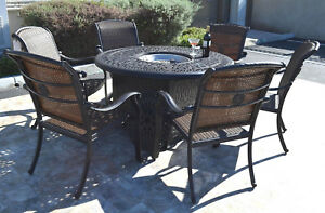 details about cast aluminum wicker furniture patio 7pc fire pit dining set with round table