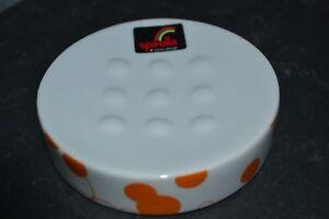 Accessoire Salle De Bain Porte Savon Spirella Orange Blanc En Ceramique Ebay