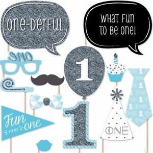 20x Boy 1st Birthday Photo Booth Props Blue Baby Show First Party Decoration Diy Ebay