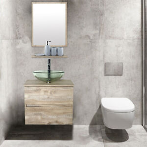 details about 24 bathroom vanity w tempered clear glass vessel sink wall mounted combo naturl